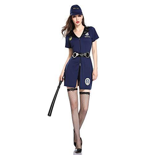 HJG Womens Sexy Polizist Kostüm in Blau mit den Handschellen, Schmutzige Cop Uniform FBI Halloween Outfits,XL