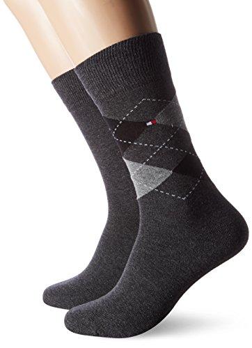 Tommy Hilfiger Herren TH Men Check 2P Socken, Grau (Anthracite 201), 43-46 (2er Pack)