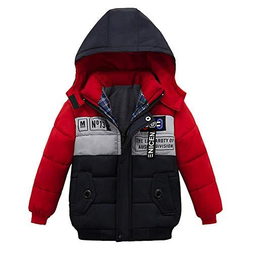 Enfants d'hiver Chaud Veste, IMJONO Mode Garçons Manteaux Enfant Zipper Épais Hoodie Vêtements D'extérieur Vêtements (3 Ans, Rouge)
