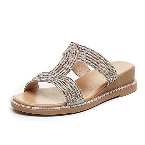 WUHUI Mujer Antideslizantes Zapatillas Piscina Femenino, Zapatillas Planas de Mujer, Sandalias cómodas de Suela Blanda-Gold_36, Zapatos de Ducha Playa y Piscina Sandalias