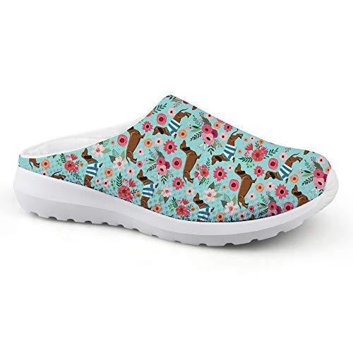 Bigcardesigns Summer Mesh Fiber Slippers Women Slip On Lazy Shoes Dachshund Print Women's US 9 B(M)=EUR 39
