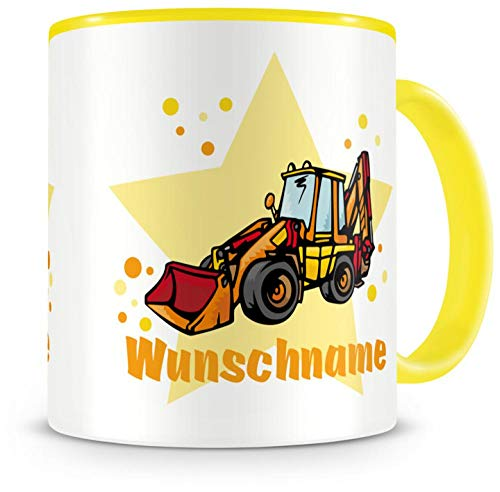 Samunshi® Kinder-Tasse mit Namen und einem Baggerlader Bagger Baustelle als Motiv Bild Kaffeetasse Teetasse Becher Kakaotasse Nr.5: gelb H:95mm / D:82mm
