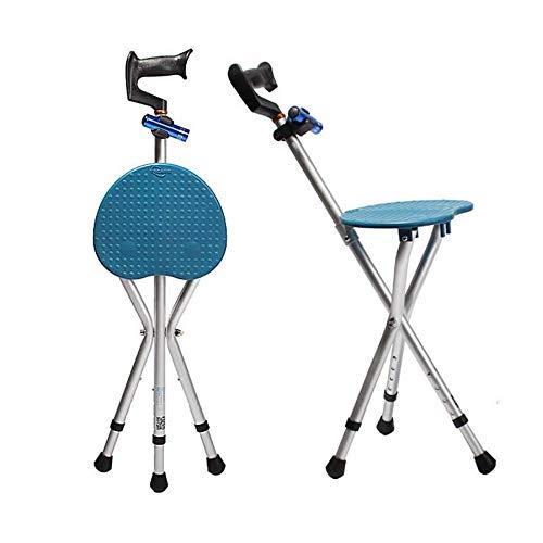 FHKBB Asiento para Caminar Bastón Plegable para Caminar Trípode Ajustable Taburete para bastón con luz LED Unisex para Ancianos, Azul
