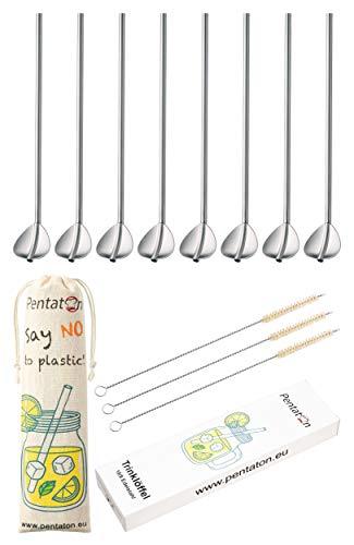 Pentaton - Juego de 11 cucharas de acero inoxidable con pajitas, reutilizables, aptas para lavavajillas, 2 en 1, pajita y cuchara, ideal como cucharas de Latte Macchiato y cóctel, color: Plate