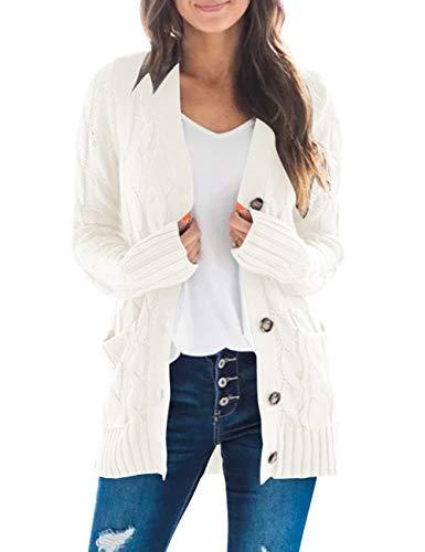 MEROKEETY Women's Long Sleeve Cable Knit Sweater Open Front Cardigan Button Loose Outerwear Beige