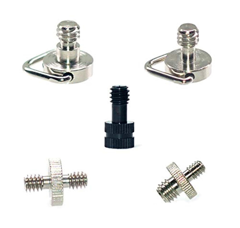 1/4 Mounting Screw D Shaft D-Ring Camera Screw 1/4 Inch Male to 1/4 inch Male to 3/8 Inch Male Threaded Screw Adapter for Camera Tripod Monopod/Quick Release DSLR Tripod/Monopod/Ballh (5pcs)