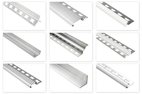 HEXIM Riel de acero inoxidable para azulejos, 2 m, gran selección de alturas y perfiles, acero inoxidable V2A, perfil de borde de escalera de 10 mm, color plateado