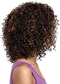 Fashion fluffy short curly wigs brown-black for women 56-1