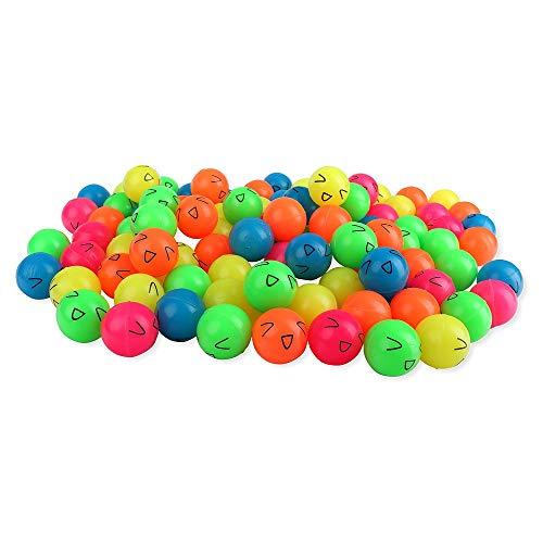 Schramm® 100 Stück Flummis Lachgesicht ca. 27mm Flummi Springball Hüpfball Mitgebsel Tombola Kindergeburtstag