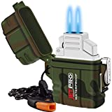 JETPRO Double Torch Lighter Insert Detachable Waterproof Case with Survival Emergency Whistle Lanyard & Flame Adjuster (No Butane Prefilled) for Candle, Hiking, Camping - Outdoors Indoors