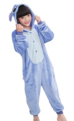 Kigurumi Pigiami Animali da Bimbi Bambini Tuta Costume Carnevale Halloween Festa Cosplay unisex-M/8-9years-Stitch Blu