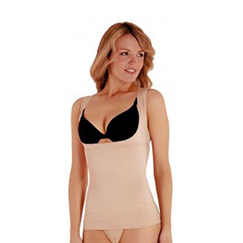 Unterbrustmieder für Damen, figurformendes Unterhemd, Hautfarben, Schwarz Gr. Large, nude
