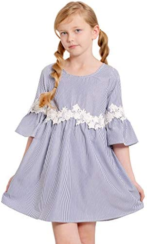 Truly Me Big Girls Designer Babydoll Dress with Flower Crochet Trim Ruffle Detail and Bell Sleeves product image