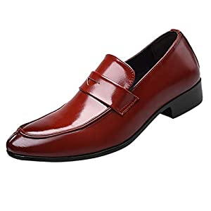 YWLINK Calzado Casual De Hombre Zapatos De Negocios CóModos Antideslizantes Adecuado para Bodas/Oficina/Diario Zapatos De Gran TamañO(Rojo,46EU)