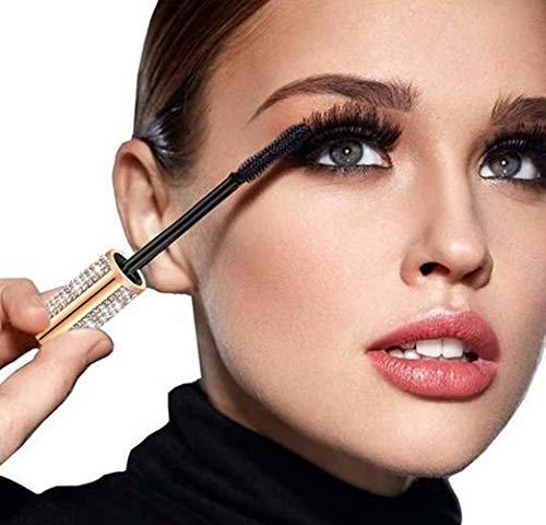 Mascara pour cils en fibre de soie 4D - Imperméable - Pour épaissir, allonger et volumineux - Résistant à la transpiration - Longue durée - Brosse en caoutchouc anti-taches