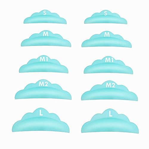 Libeauty Lash Lift Pads,DIY Eyelash Lift Pads,Eyealsh Perm Rods, Lash Lifting At Home 10 Pcs Sky Blue Pads 5 Size SMM1M2L Reusable Soft Silicone Shields