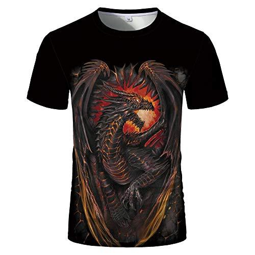 Sunofbeach Unisex 3D Camiseta Divertidas Impresa Personalizada Verano Casual tee Shirts, Hippie Gótico Dragón Alado Funny Camisetas para Hombres Mujeres,L