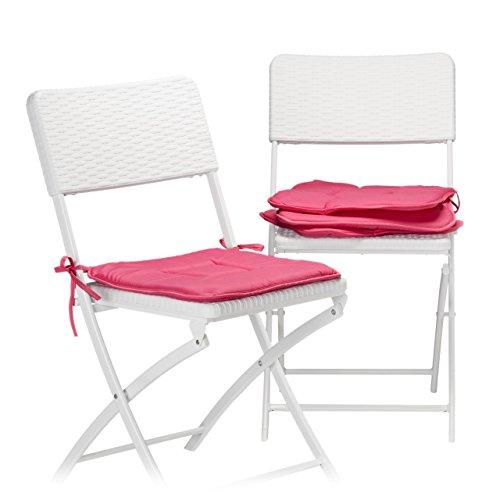 Relaxdays Stuhlkissen 4er Set in Fuchsia, Sitzkissen mit Schleife, Auflage für Stühle in Haus und Garten, waschbar, Stuhlauflage aus...