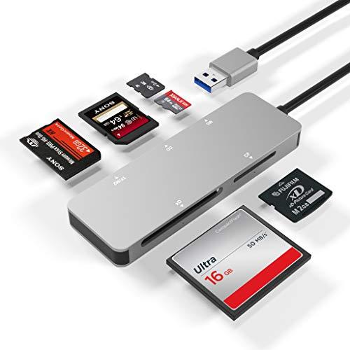 USB3.0 Kartenleser, Arkidyn 5-in-1 Aluminium USB 3.0 (5 GPS) Hochgeschwindigkeits TF/SD/MS / M2 / XD/CF Speicherkarten Solt Combo Adapter, kompatibel mit Windows, Vista, Mac OS, Linux, Chrome OS