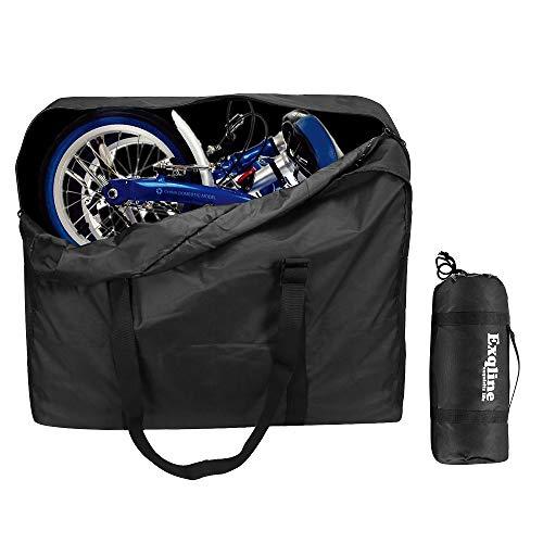 Exqline Fahrrad Transporttasche, 1680D Oxford Klapprad Tasche Große Tragetasche Fahrrad Transport für 14-20 Zoll Faltrad Drinnen und Draußen (Schwarz)