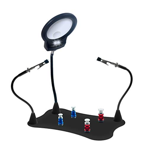 Magnetic Soldering Helping Hands Stand with Magnifying Glass and Light, Heavy Base, 4 Magnetic Pillars, 2 Removable Magnetic Arm Clamps, Third Hand Solder Tool for Electronic Workbench (Black)