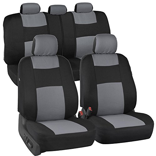 BDK OS309 PolyPro Car Seat Covers, Full Set (Gray on Black) – Front and Rear Split Bench...