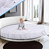 Round Thick Mattress Topper,Quilted Design Solid Color Comfort Floor Mat Futon Bed Mattress Protector-a Diameter220cm(87inch)