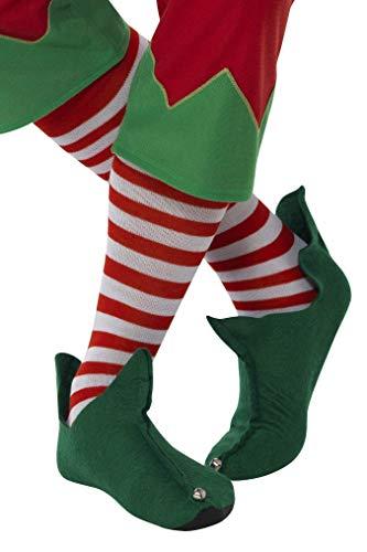 Smiffys Unisex Gestreifte Elfen Socken, Lang, One Size, Rot und Weiß, 21420
