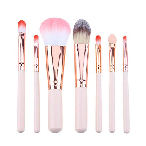 7Pcs Pinceaux de maquillage professionnel Set Foundation Powder Contour Concealer Blush Brushes-Rose