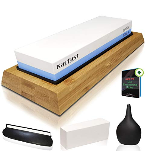 Sharpening Stone for Knife - Whetstone Sharpener Set 1000/6000 Grit - Double Side Water stones Sharpener and Polishing Tool for Kitchen, Hunting and Pocket Knives or Blades