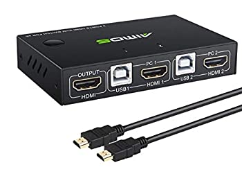 AIMOS KVM Switch HDMI 2 Port Box Share 2 Computers with one Keyboard Mouse and one HD Monitor Support Wireless Keyboard and Mouse Connections HUD 4K  3840x2160  Supported