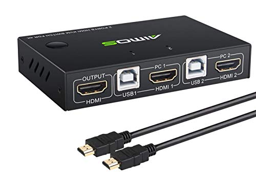 KVM Switch HDMI 2 Port Box, Share 2 Computers with one Keyboard Mouse and one HD Monitor, Support Wireless Keyboard and Mouse Connections, HUD 4K (3840x2160) Supported