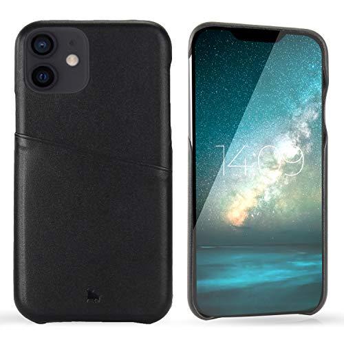 BULLAZO Menor Urban – Compatible con iPhone 12 Mini 5,4 pulgadas, funda con tarjetero de piel de alta calidad, color negro