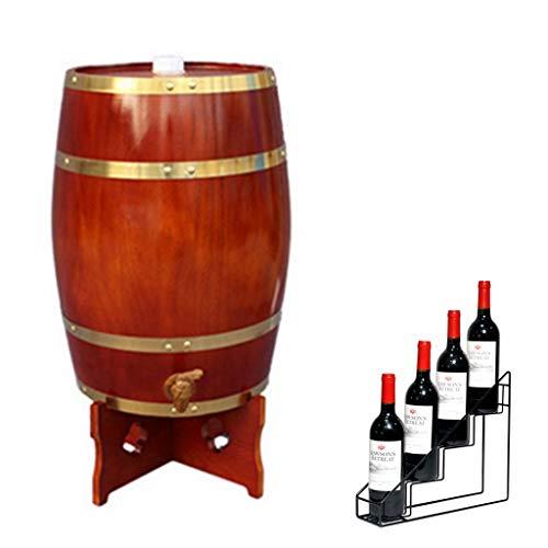 Wijnvat Dispenser Eiken Veroudering Barrel 20L Bar Restaurant Versierde Verticale Wijnvat met Wijnrek Geschikt voor het opslaan van Whiskey, Wijn, Hete Saus, Honing Effen Houten Vatten