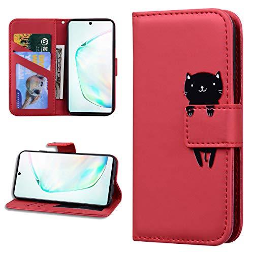 Miagon Tier Flip Hülle für Samsung Galaxy Note 10 Plus,Brieftasche PU Leder TPU Cover Design mit Ständer Kartenfächer Magnetverschluss Handytasche Wallet Case Cover,Rot