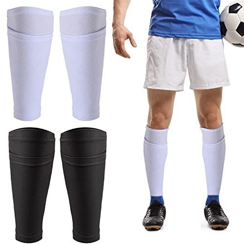 TOBWOLF 2 pares de calcetines de fútbol para espinilleras, transpirables, con bolsillo para espinilleras de fútbol, soporte de espinilleras blancas y negras para patadas, correr, ciclismo