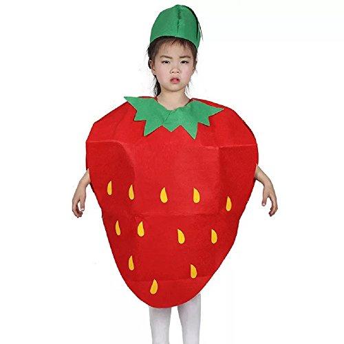 Matissa Niños Frutas Verduras y Trajes de la Naturaleza Trajes Fiesta de Disfraces Niños y niñas (Fresa)