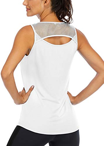 ICTIVE Womens Workout Shirts Yoga Tops for Womens Sleeveless Tops Loose Yoga Tank Cute Workout Tops Ladies Summer Tops for Women Sexy Backless Tops Women Exercise Clothes Athletic Tank Tops White S