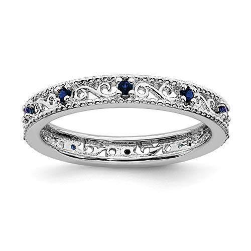 Solid 925 Sterling Silver Stackable Created Sapphire Blue September Gemstone Ring Eternity Band Size 7