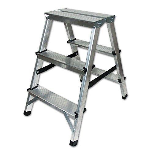 Aluminium Trittleiter Leiter beidseitig begehbar, 2x3 Stufen, 150kg Traglast TÜV geprüft