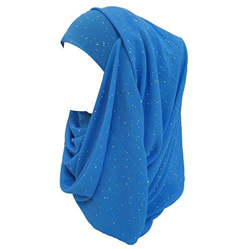 Lina & Lily Lina & Lily Damen Muslim Hijab Kopftuch Schal Glitzer Chiffon (Azur Blau)