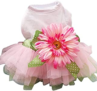 Whiteswanau Spring Summer Pet Dog Dress Clothes with Big Sunflower Cute Princess Skirt Wedding Ball Gown Party Dress Pet Supplies