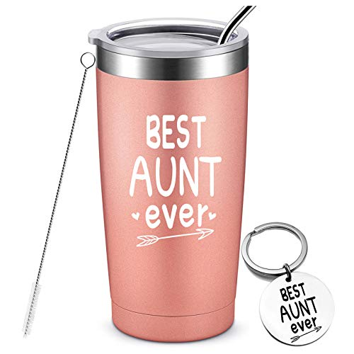 Best Aunt Ever - Birthday Gifts for Aunt from Niece, Nephew, Funny Christmas Gifts for Auntie, Stainless Steel Insulated Tumbler with Keychain, 20 Ounce Rose Gold