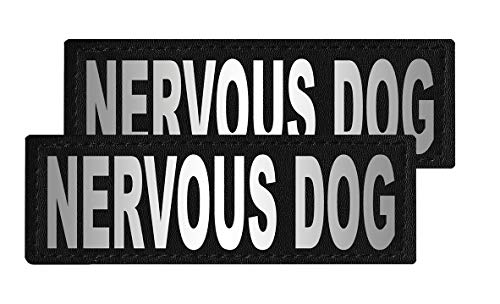 Dogline Nervous Dog Vest Patches – Removable Nervous Dog Patch 2-Pack with Reflective Printed Letters for Support Therapy Dog Vest Harness Collar or Leash Size C (2