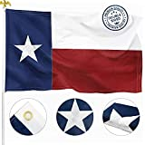XIFAN Premium Texas State Flag 3x5 Outdoor, with Embroidered Stars/Sewn Stripes/4 Stitch Hemming, Heavy Duty 210D Nylon Strongest Longest Lasting - Vibrant Print Waterproof