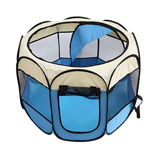 YYMMQQ Pet Carrier Tragbares zusammenklappbares Haustierzelt Hundehauskäfig Hundekatze Zelt Laufstall Welpenhütte Einfache Bedienung Achteckiger Zaun Außenbedarf heiß, Blau, M.