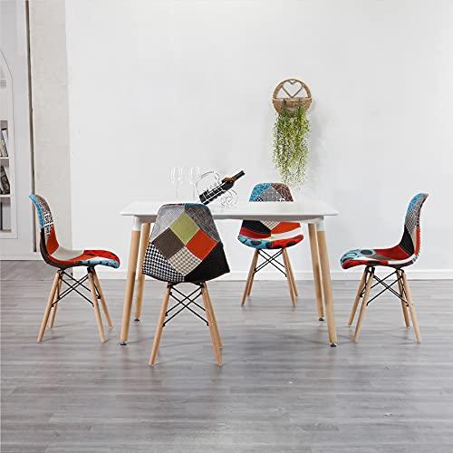 EGOONM Set di 4 6 Sedie da Pranzo Sedie Patchwork dal Design Nordico Sedie da Soggiorno con Morbido Cuscino (Rosso 02, 4)