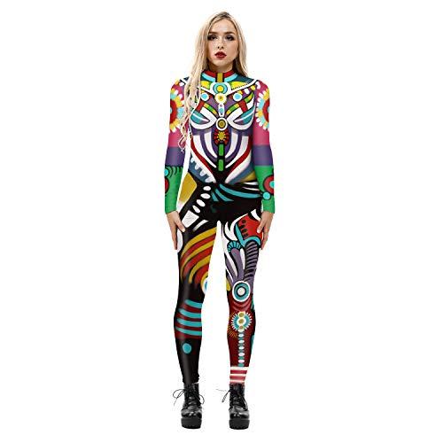 CNMD Frauen Halloween Skelett Kostüm Stretch Skinny Catsuit Jumpsuit Bodysuit H-M