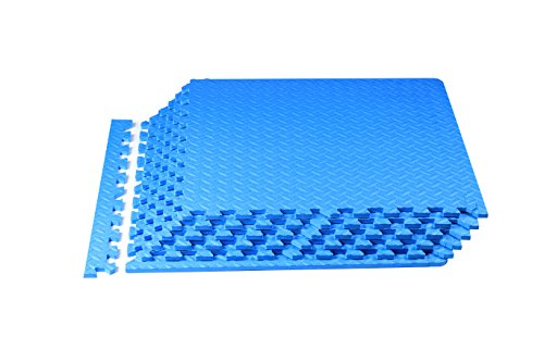 Spoga Foam Exercise Mat EVA with Interlocking Tiles 24 Square Feet (Blue)
