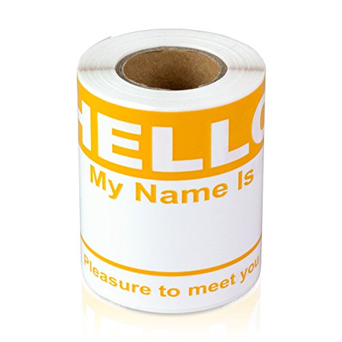 """Hello My Name is Stickers Labels Nametags Visitor Sticker Badges Write on Adhesive Color Simple Basic Blank [Orange] -2-5/16"""" x 4"""" Inch 100 Stickers Labels per Roll"""
